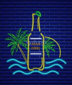 Beer bottle neon sign Vector. Summer icon tropic background Stock Vector