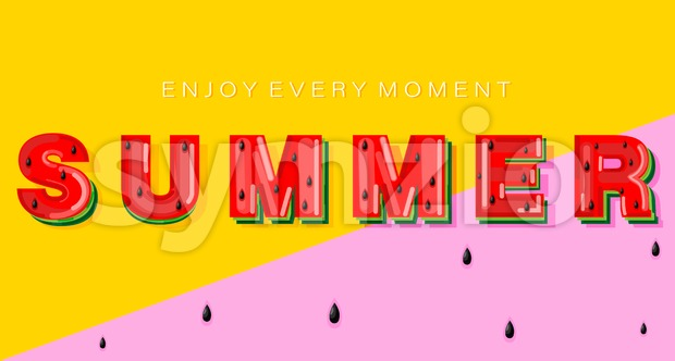 Summer watermelon banner text Vector. Abstract colorful background Stock Vector