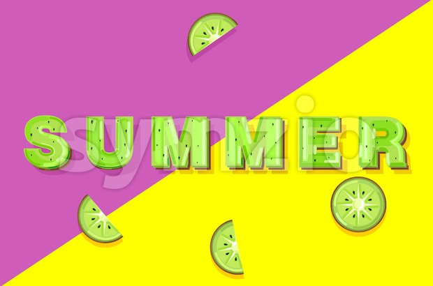 Summer kiwi banner text Vector. Abstract colorful background