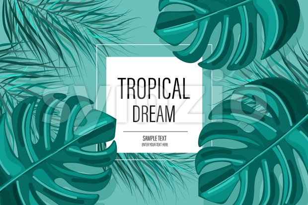 Summer tropic pattern Vector. green palm leaves decor textures vintage style Stock Vector