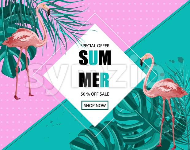 Flamingo banner Vector. Summer Sale promotion abstract background template Stock Vector