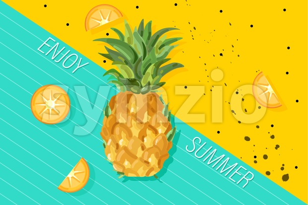 Summer pineapple banner Vector. Fresh fruits tropic posters. Abstract colorful background Stock Vector