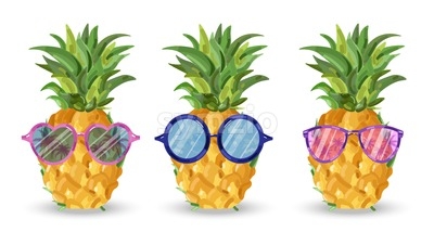 Pineapple pattern Vector. Cartoon style. Funny fruits with glasses tropic poster Stock Vector