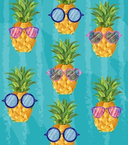 Summer cute pineapple pattern Vector. Cartoon style. Funny fruits with glasses tropic poster Stock Vector