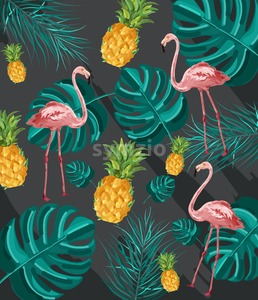 Summer tropic pattern Vector. Flamingo and green palm leaves decor texture Stock Vector