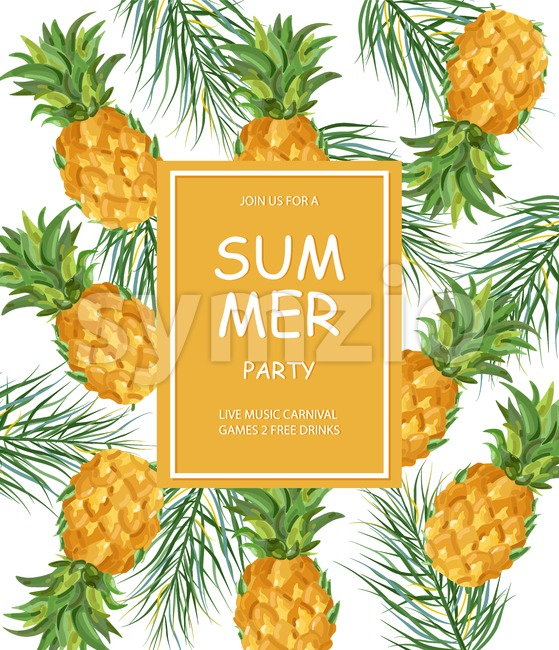 Summer pineapple pattern Vector. Fresh fruits tropic poster Stock Vector