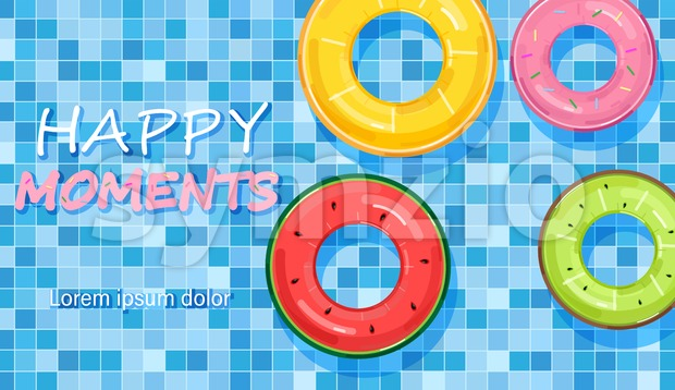 Colorful pool rings on water background Vector. Summer poster inflatable life rings in fruits style Stock Vector
