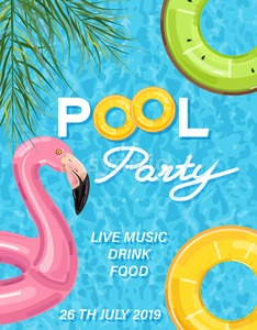 Summer pool party poster with flamingo lifering Vector. Summer banner blue water background Stock Vector