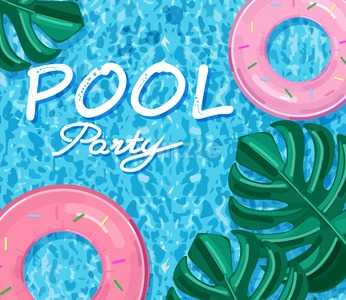 Summer pool party poster Vector. Summer banner blue water background Stock Vector