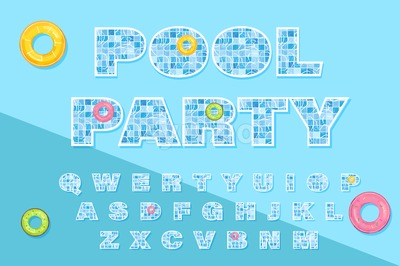 Pool text template Vector. Summer banner blue water background Stock Vector