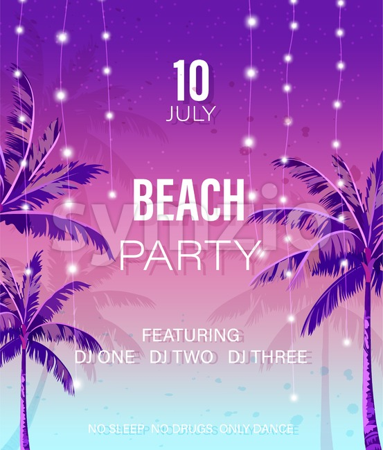 Beach party poster Vector. Summer hot tropical background Stock Vector