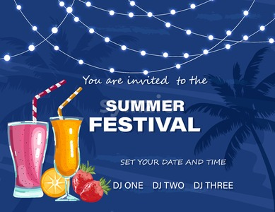 Summer festival poster Vector. Cocktails party. Hot tropical background Stock Vector