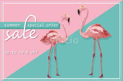 Colorful flmingo banner Vector. Sale promotion abstract background template Stock Vector
