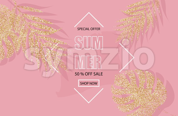 Summer sale banner with glitter golden palm leaves Vector. Pink background