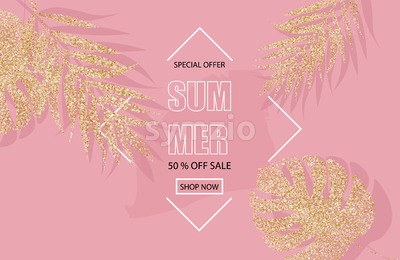 Summer sale banner with glitter golden palm leaves Vector. Pink background Stock Vector