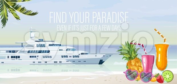 Travel boat Vector. Summer cruise journey poster template Stock Vector