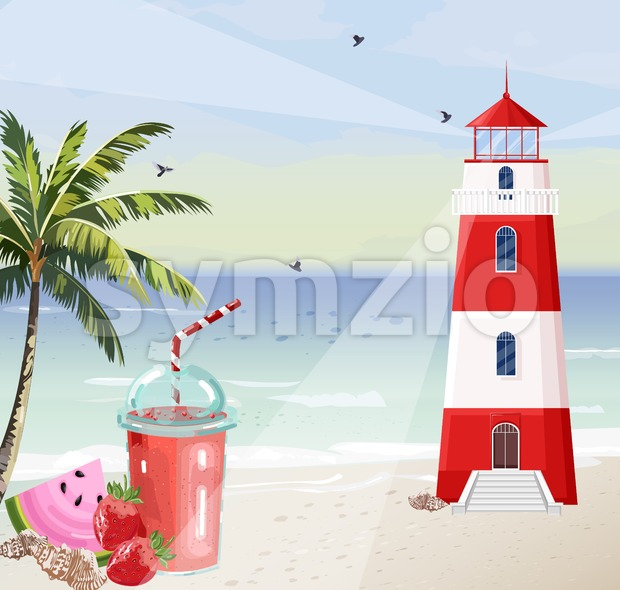 Summer seaside with Lighthouse Vector. Red tower symbol cocktails and palm trees illustration Stock Vector