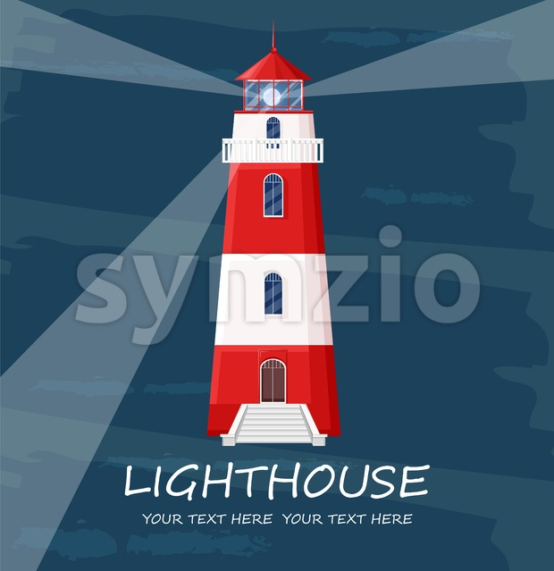 Lighthouse Vector. Red tower symbol. Blue background Stock Vector