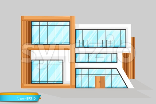 Modern house front view Vector. Architecture facade detailed illustration Stock Vector