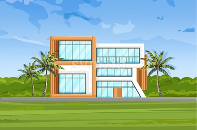 Modern house front view Vector. Architecture facade summer nature background Stock Vector