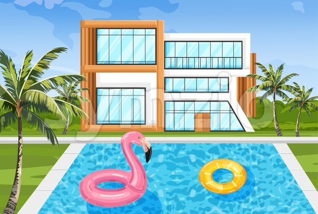 Modern house with swimming pool Vector. Architecture facade summer nature environment Stock Vector