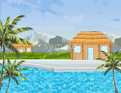 Seaside houses Vector summer background. Tropic paradise blue water and mountain view Stock Vector