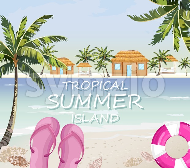 Pink flipflops at sea. Summer seaside banner Vector. Colorful travel poster