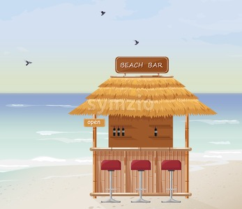 Beach bar Vector. Summer tropic seaside. Wooden house template icon Stock Vector