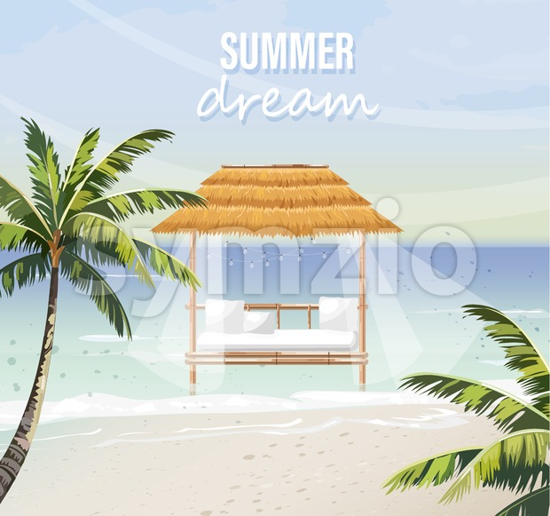 Beach lounge Vector. seaside background. summer tropic template icon Stock Vector