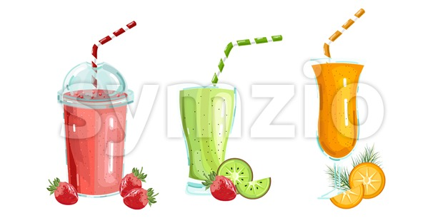 Cocktail drinks set Vector isolated. Fresh juicy smothies and beverages template Stock Vector