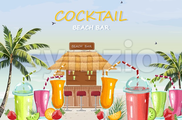 Beach bar cocktail drinks Vector. Fresh juicy smothies and beverages seaside background. summer tropic template icon