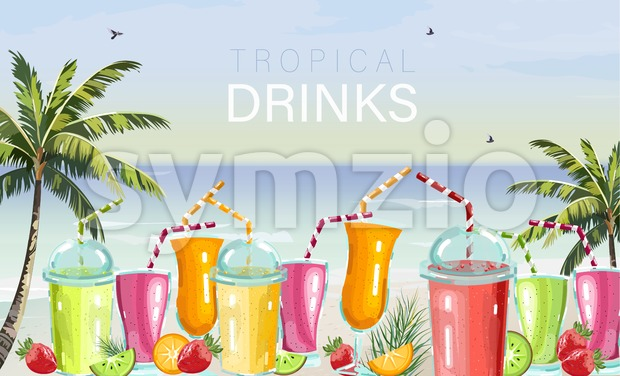 Cocktail drinks set Vector. Fresh juicy smothies and beverages on seaside background. summer tropic template beach bar Stock Vector