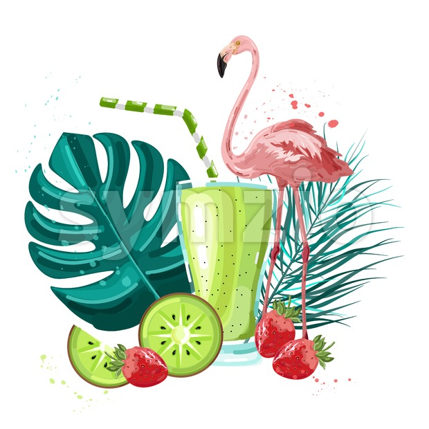 Summer tropic flamingo and fruits smoothie Vector. Summer icon template. Palm leaves and cocktail poster