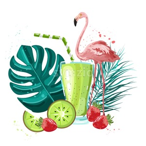 Summer tropic flamingo and fruits smoothie Vector. Summer icon template. Palm leaves and cocktail poster Stock Vector