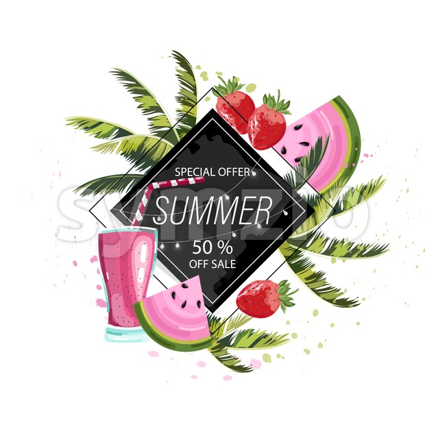 Summer tropic fruits and drinks Vector icon template. Palm leaves and cocktail poster