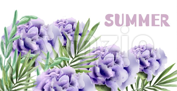 Purple roses Summer background Vector watercolor illustration