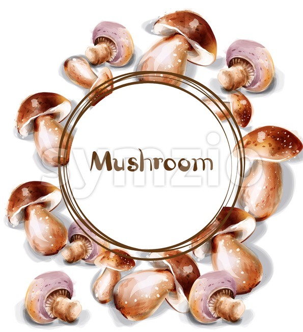 Mushroom Vector watercolor. Menu template round frame Stock Vector
