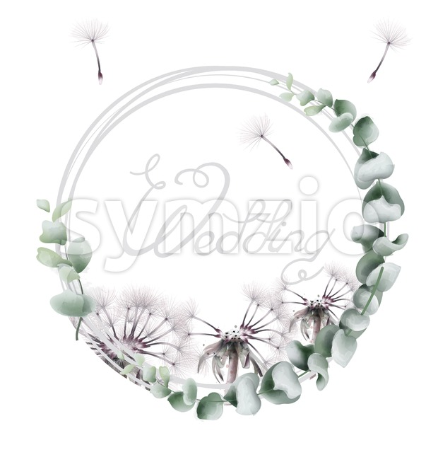 Round wreath dandelion Vector watercolor. Summer floral frame card