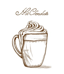 Hot chocolate Vector line art style. Delicious sweets illustration Stock Vector