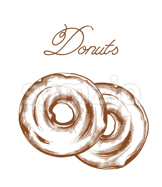 Donuts line art Vector. Delicious sweets illustration isolated Stock Vector