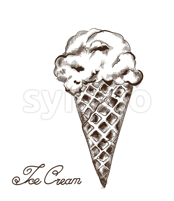 Ice cream Vector line art. Delicious summer sweets illustration Stock Vector