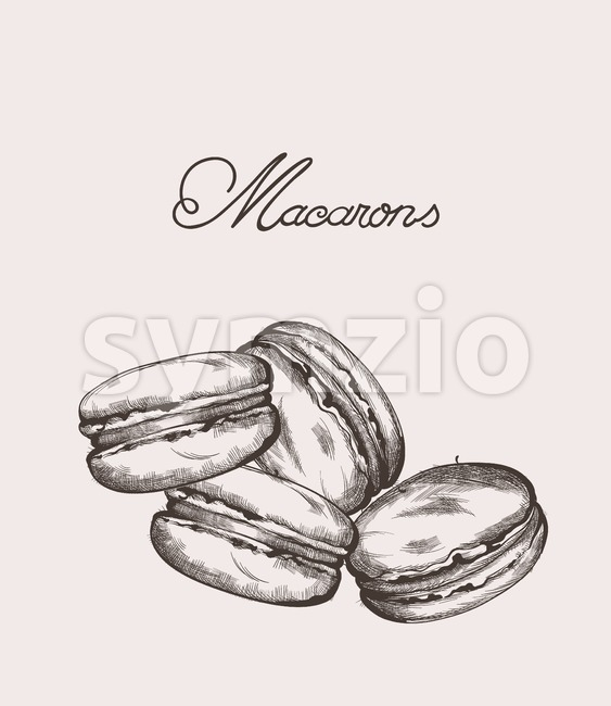 Macaroons line art Vector. Delicious sweets illustration Stock Vector