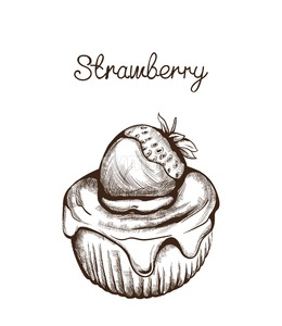 Cupcake line art Vector. Delicious dessert illustration isolated on white Stock Vector