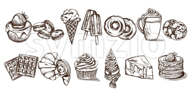 Sweets pattern Vector line art style. Ice cream, croissant, pancakes illustration Stock Vector
