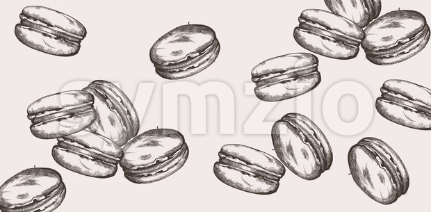 Macaroons pattern line art Vector. Delicious sweets illustration Stock Vector
