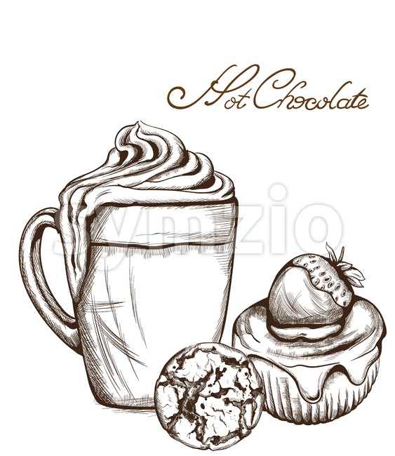 Hot chocolate and cupcake Vector line art style. Delicious sweets illustration Stock Vector