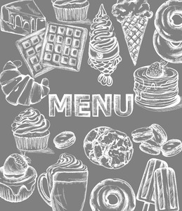 Sweets menu template Vector line art style. Ice cream, croissant, pancakes illustration Stock Vector