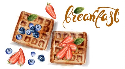 Waffles Vector watercolor. Strawberry and blueberry topping Stock Vector