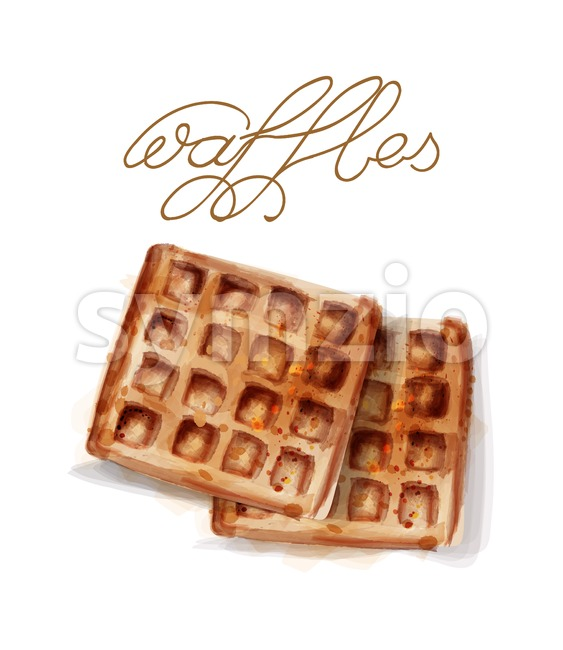 Waffles Vector watercolor. breakfast simple fresh waffles illustration Stock Vector