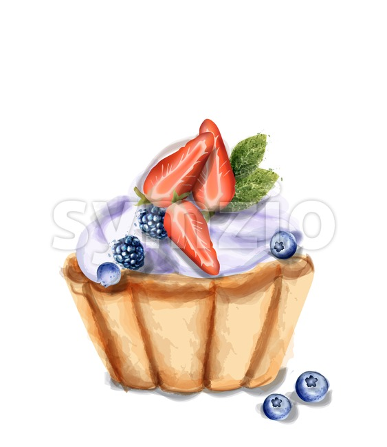 Cupcake Invitation isolated Vector watercolor. Strawberry and blueberry sweet cupcake